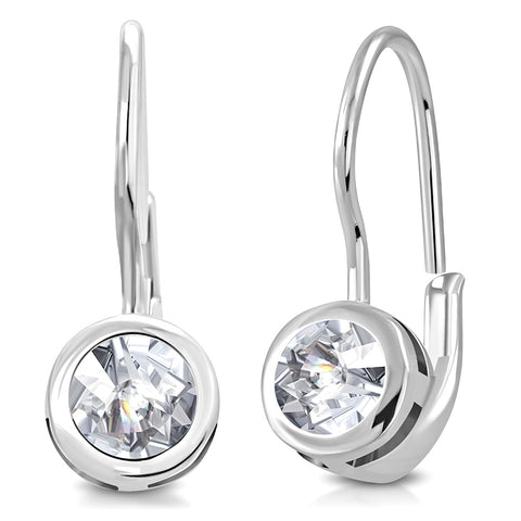925 Sterling Silver Clear Bezel-Set CZ Lever Back Earrings, 0.7""