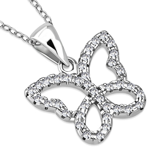 925 Sterling Silver Clear CZ Butterfly Charm Pendant Necklace, 18""