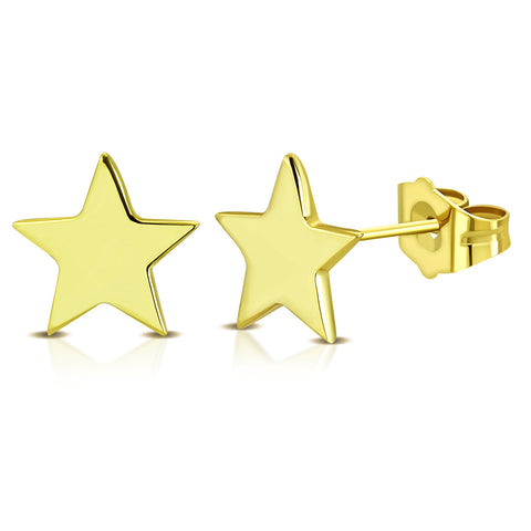 925 Sterling Silver Yellow Gold-Tone Star Small Stud Earrings, 0.25""