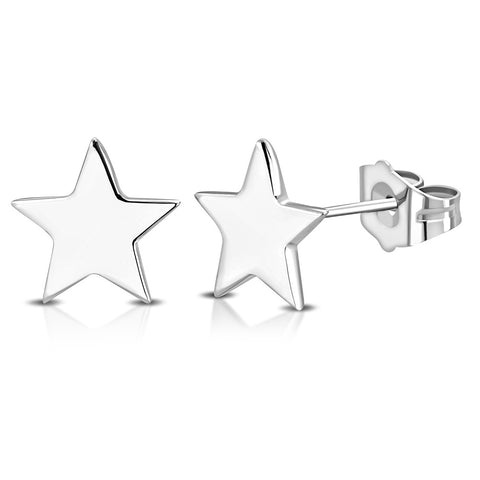 925 Sterling Silver Star Small Stud Earrings, 0.25""