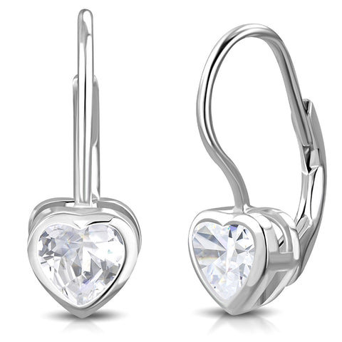 925 Sterling Silver Clear Bezel-Set CZ Love Heart Lever Back Earrings, 0.7""