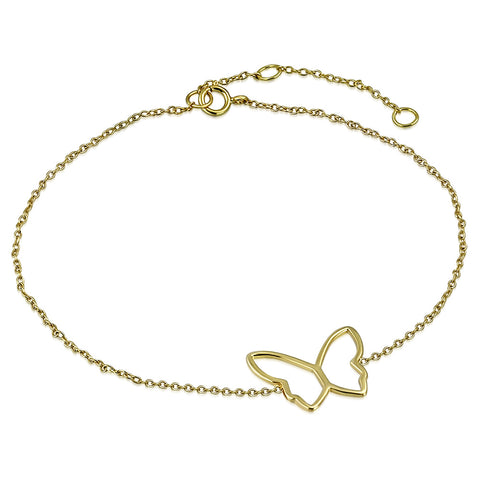925 Sterling Silver Yellow Gold-Tone Cut-out Butterfly Anklet Bracelet, 11""