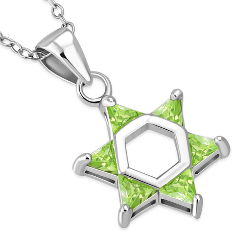 925 Sterling Silver Light Green CZ Jewish Star of David Pendant Necklace, 18""