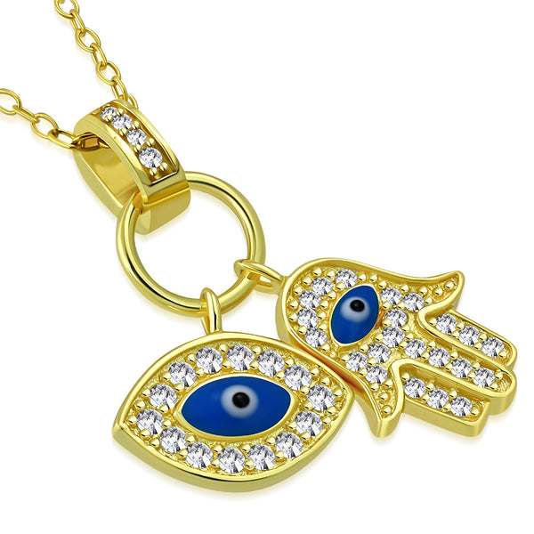 Gold Double Protection Evil Eye Pendant Necklace Sterling Silver