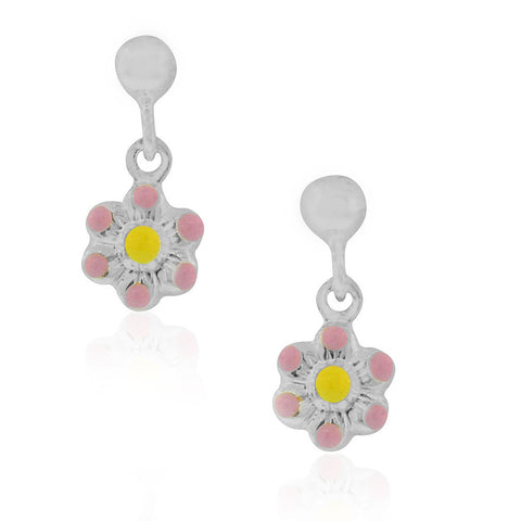 925 Sterling Silver Light Pink Enamel Flower Girls Dangle Drop Earrings, 0.60""