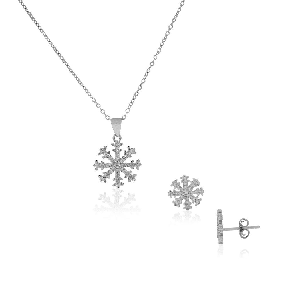 925 Sterling Silver Clear White CZ Snowflake Pendant Necklace Stud Earrings Set, 18""