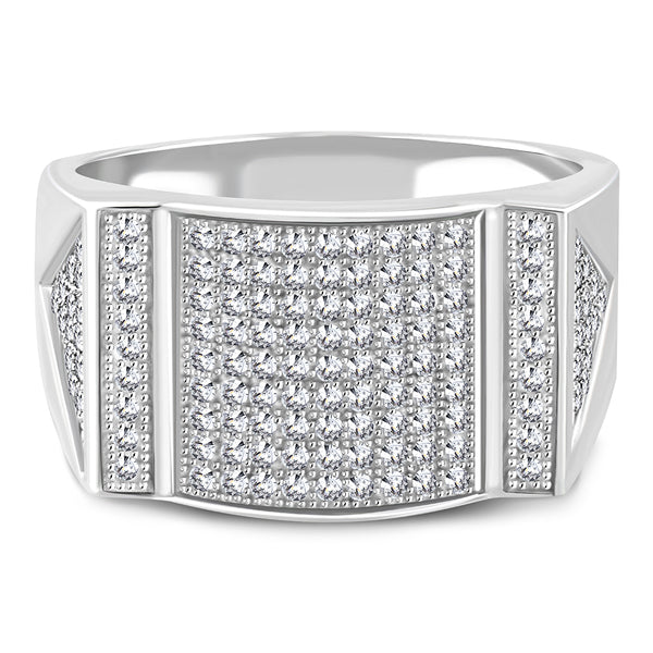 925 Sterling Silver White Clear CZ Mens Ring