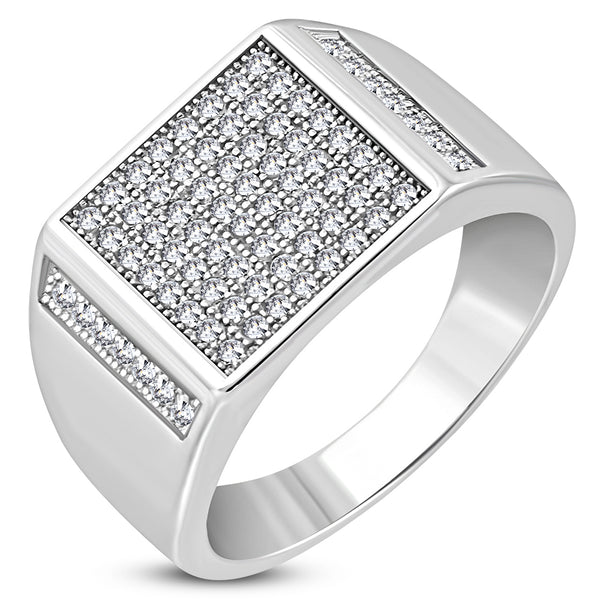 925 Sterling Silver White Clear CZ Large Statement Mens Ring