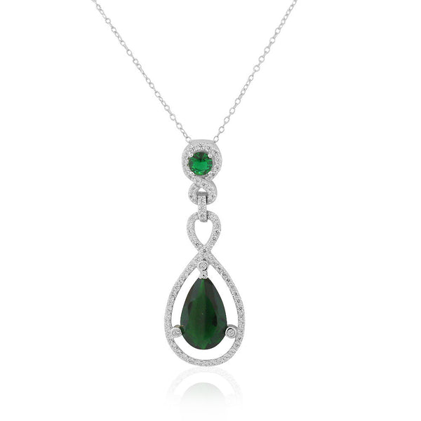 925 Sterling Silver Green Emerald-Tone CZ Teardrop Large Statement Pendant Necklace, 18""