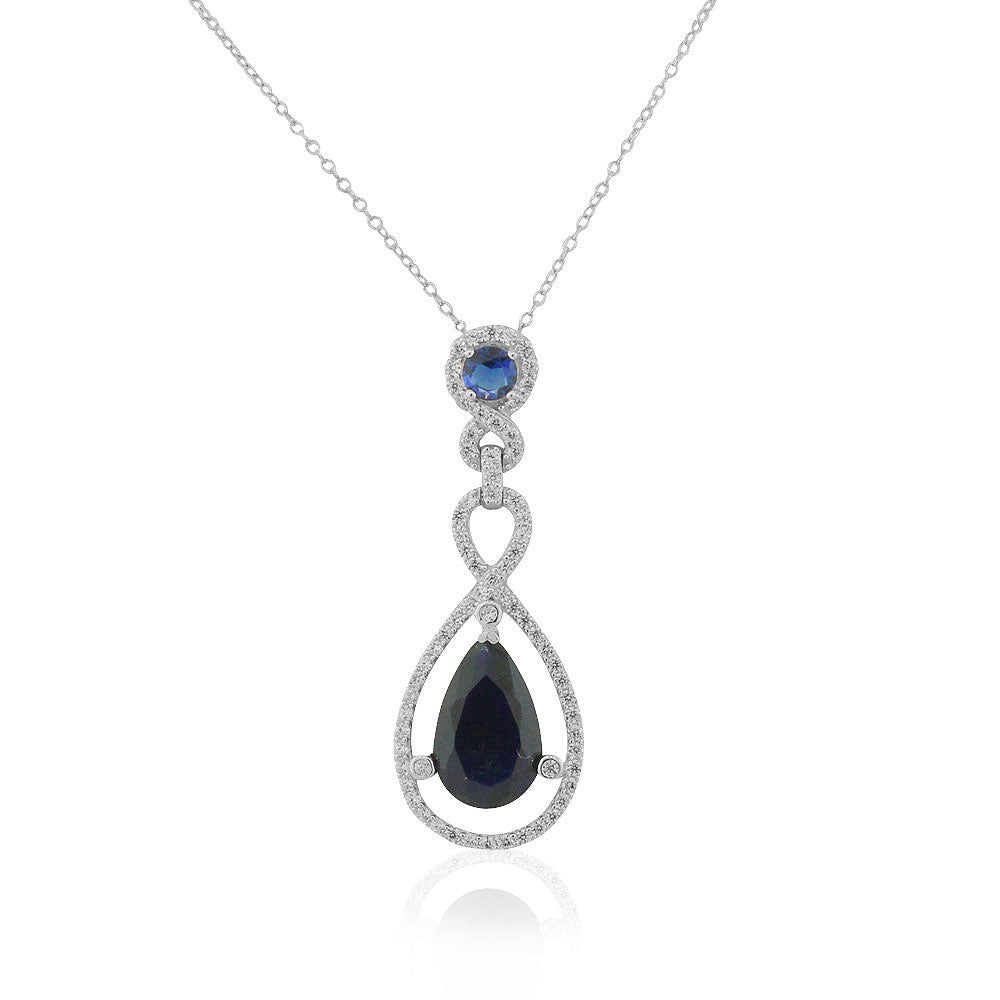 925 Sterling Silver Blue Sapphire-Tone CZ Teardrop Large Statement Pendant Necklace, 18""