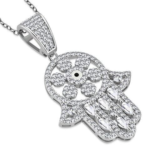 925 Sterling Silver Clear White CZ Hamsa Good Luck Pendant Necklace, 18""