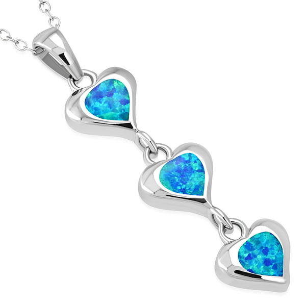 Triple Heart Opal Necklace Pendant Sterling Silver