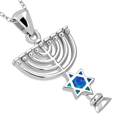 925 Sterling Silver Blue Simulated Opal Jewish Star of David Menorah Pendant Necklace, 18""