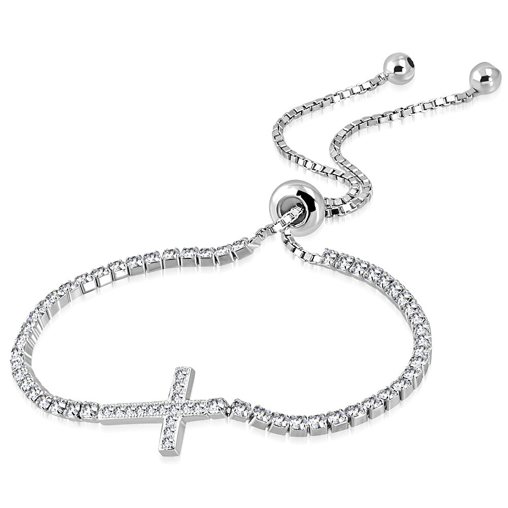 925 Sterling Silver Clear CZ Religious Cross Adjustable Chain Bracelet, 9""