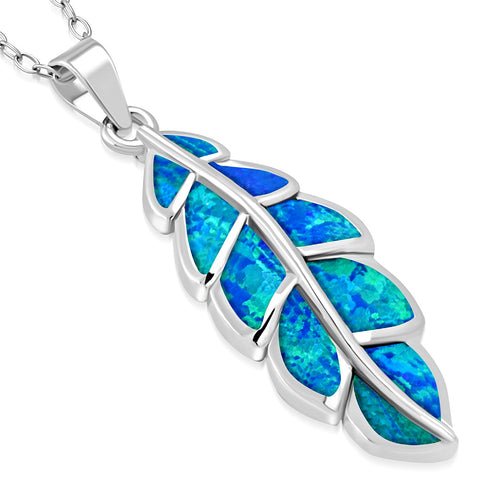 925 Sterling Silver Blue Simulated Opal Feather Leaf Pendant Necklace, 18""