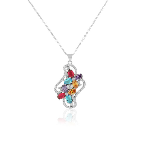 925 Sterling Silver White Clear Multicolor CZ Bright Holiday Pendant Necklace, 18""