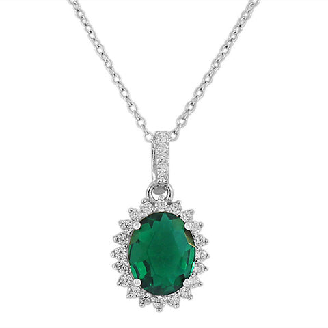 925 Sterling Silver Green Emerald-Tone White CZ Oval Charm Womens Pendant Necklace