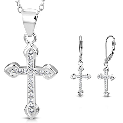 Silver Cross Jewelry Set