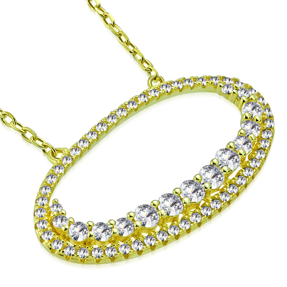 925 Sterling Silver Yellow Gold-Tone White Clear CZ Oval Pendant Necklace, 18""