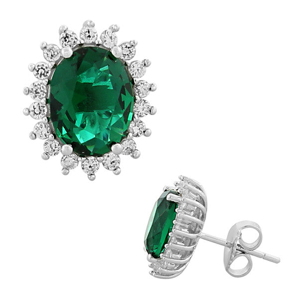 925 Sterling Silver Emerald-Tone Green White CZ Oval Womens Stud Earrings