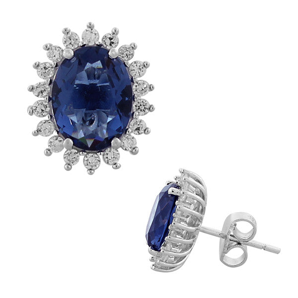 925 Sterling Silver Royal Blue White CZ Oval Womens Stud Earrings