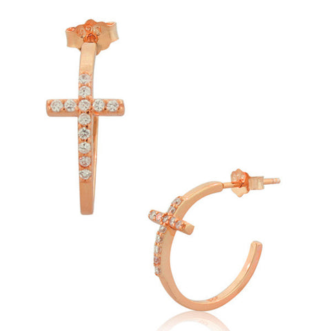 925 Sterling Silver Rose Gold-Tone White Round CZ Religious Latin Cross Womens Half Hoop Earrings