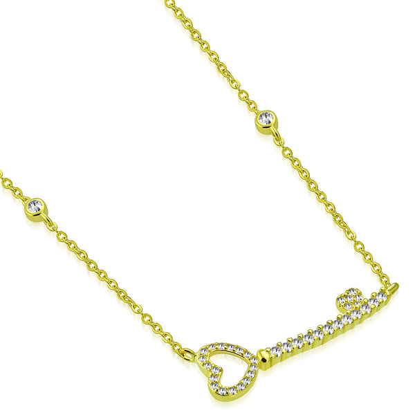 Yellow Gold Tone Sterling Silver Cubic Zirconia Heart Key Pendant Necklace