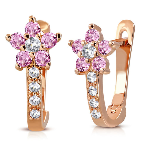 925 Sterling Silver Rose Gold-Tone White Pink CZ Small Girls Hoop Huggie Flower Floral Earrings, 0.5""