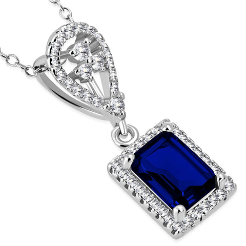 925 Sterling Silver Rectangular Teardrop Clear Blue Sapphire-Tone CZ Elegant Pendant Necklace, 18""