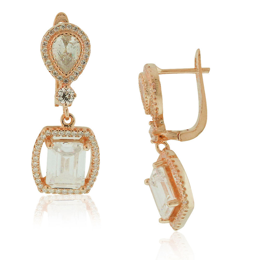 925 Sterling Silver Rose Gold-Tone Rectangular Teardrop White Clear CZ Drop Dangle Earrings, 1.2""