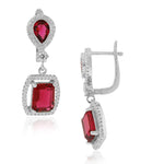 925 Sterling Silver Rectangular Teardrop Red Ruby-Tone CZ Drop Dangle Earrings, 1.2""
