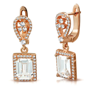 925 Sterling Silver Rose Gold-Tone Rectangular White Clear CZ Drop Dangle Earrings, 1""