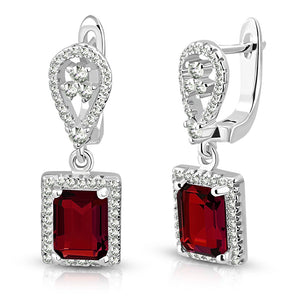 925 Sterling Silver Rectangular Red Ruby-Tone CZ Drop Dangle Earrings, 1""