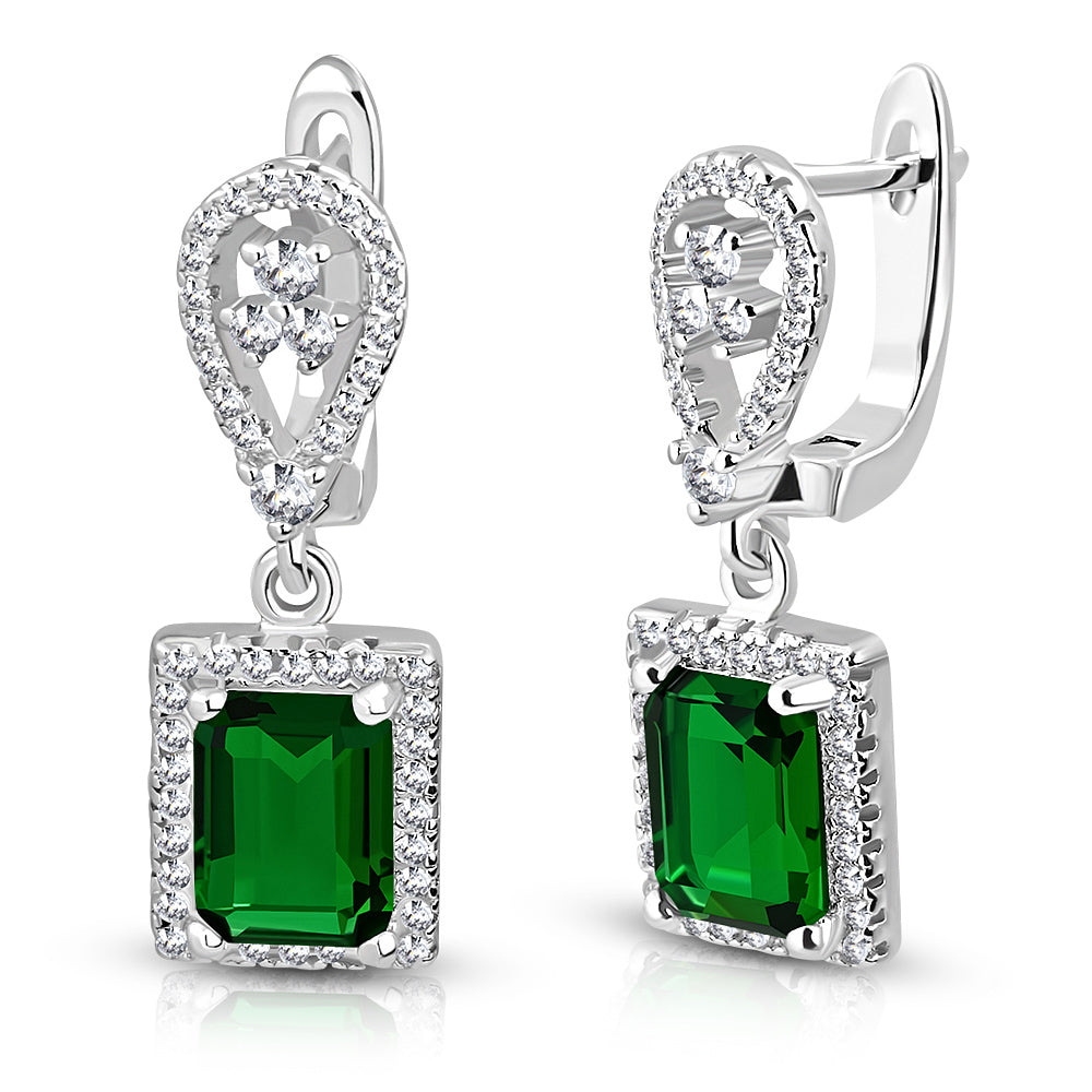 925 Sterling Silver Rectangular Green Emerald-Tone CZ Drop Dangle Earrings, 1""
