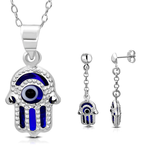 925 Sterling Silver Blue Hamsa Evil Eye Good Luck Earrings Pendant Necklace Set, 18""