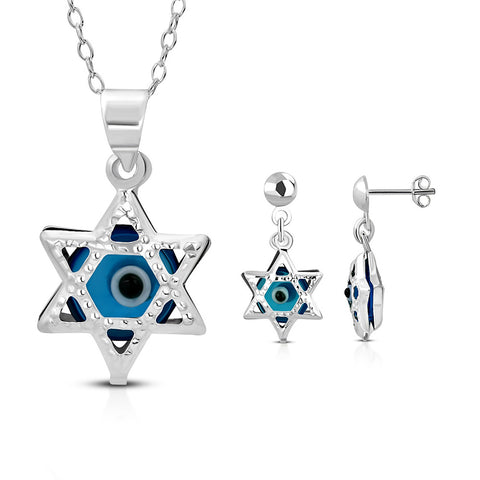 925 Sterling Silver Jewish Star of David Evil Eye Good Luck Earrings Pendant Necklace Set, 18""