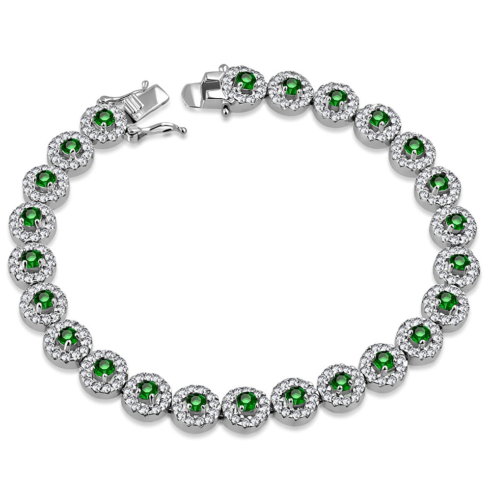 925 Sterling Silver White Clear Green Emerald-Tone CZ Tennis Bracelet, 7.25""