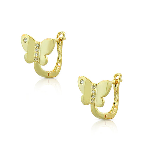 925 Sterling Silver Yellow Gold-Tone Clear White CZ Butterfly Hoop Huggie Earrings, 0.45""