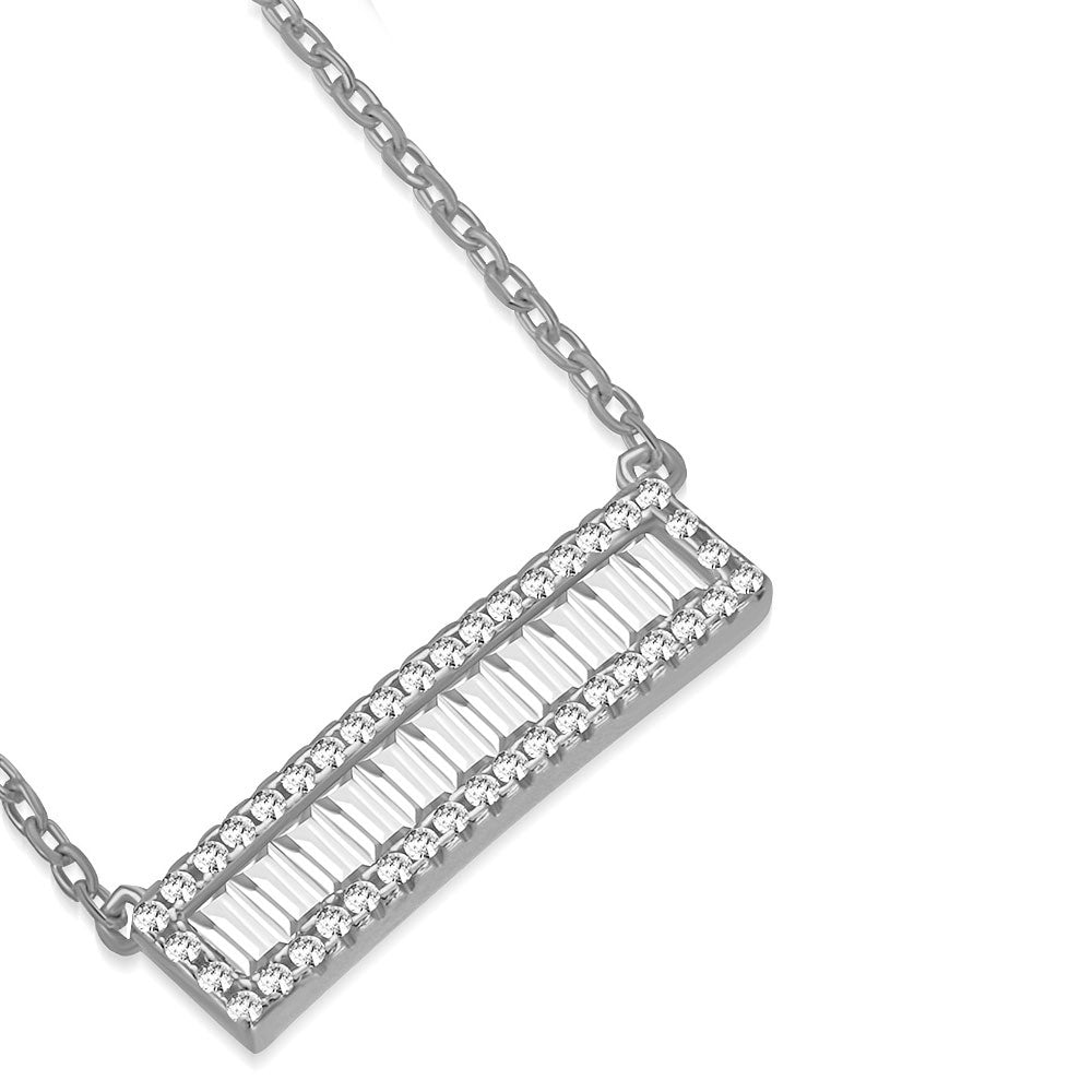 925 Sterling Silver White Clear Baguette-Shape CZ Sideways Bar Pendant Necklace, 18""