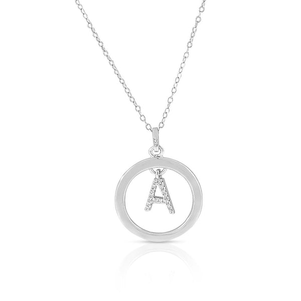 Initial Pendant Circle Necklace in Sterling Silver