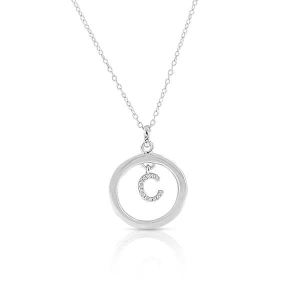"925 Sterling Silver White Clear CZ Circle Letter Initial Pendant Necklace, 18"" - C"
