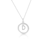 "925 Sterling Silver White Clear CZ Circle Letter Initial Pendant Necklace, 18"" - D"