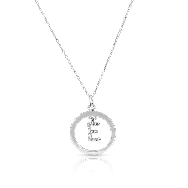 "925 Sterling Silver White Clear CZ Circle Letter Initial Pendant Necklace, 18"" - E"
