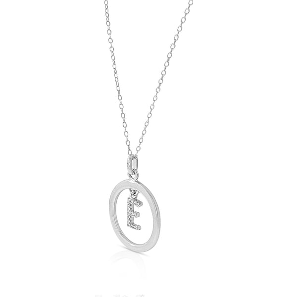 Initial Pendant E Circle Necklace in Sterling Silver