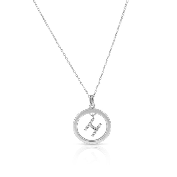 "925 Sterling Silver White Clear CZ Circle Letter Initial Pendant Necklace, 18"" - H"