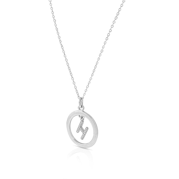 Initial Pendant Circle H Necklace in Sterling Silver