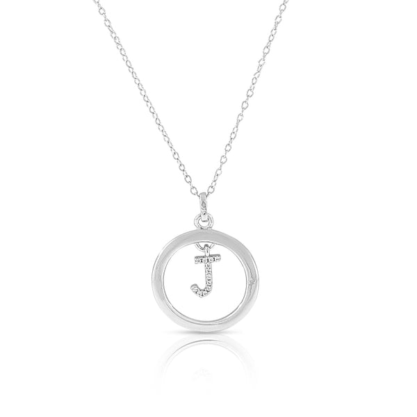 "925 Sterling Silver White Clear CZ Circle Letter Initial Pendant Necklace, 18"" - J"