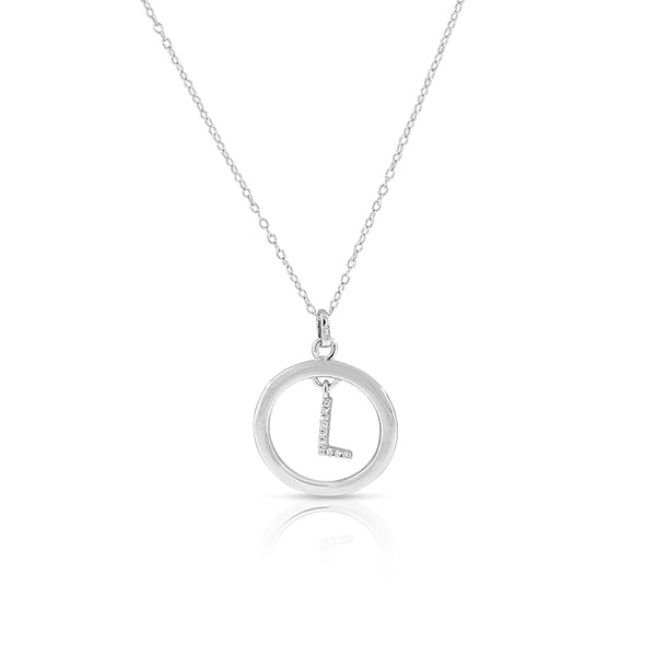 "925 Sterling Silver White Clear CZ Circle Letter Initial Pendant Necklace, 18"" - L"