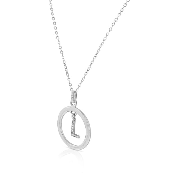 Initial L Pendant Circle Necklace in Sterling Silver