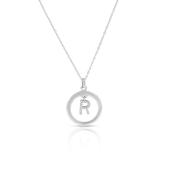 "925 Sterling Silver White Clear CZ Circle Letter Initial Pendant Necklace, 18"" - R"